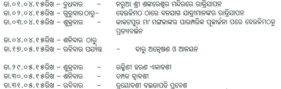Schedule of Banajaga Yatra
